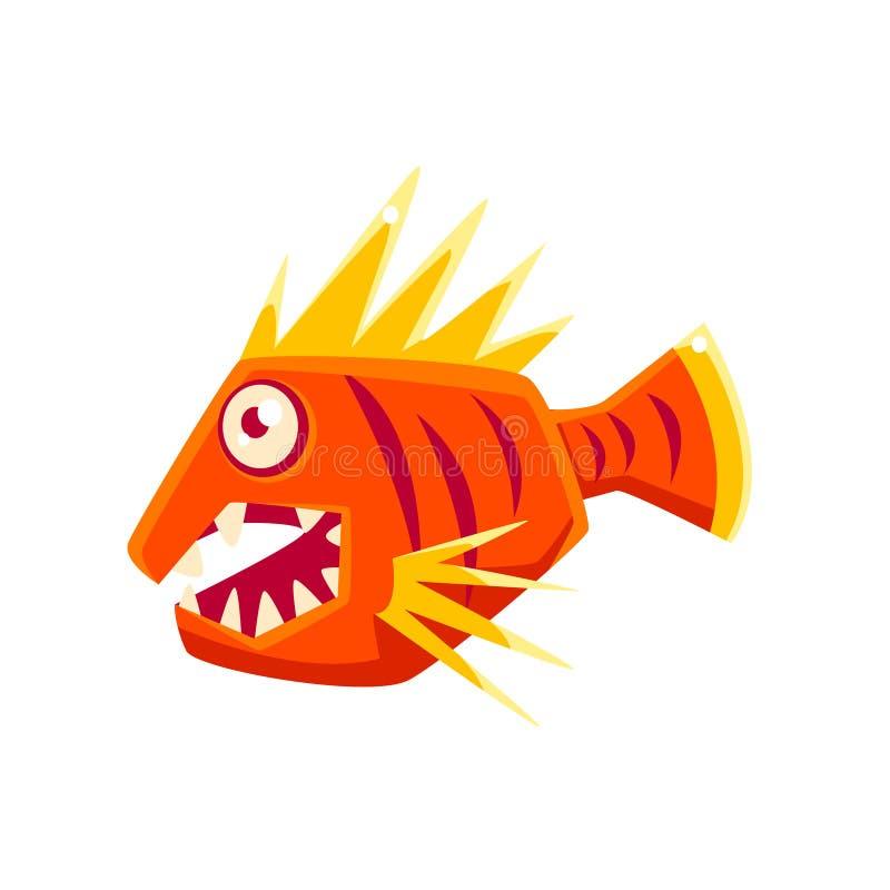 Peixes tropicais do aquário fantástico agressivo vermelho com personagem de banda desenhada pontudo das aletas ilustração stock
