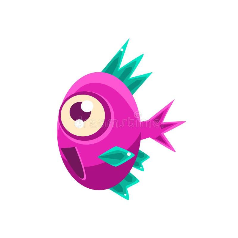 Peixes tropicais do aquário fantástico cor-de-rosa entusiasmado com personagem de banda desenhada pontudo das aletas de turquesa ilustração stock