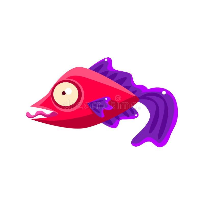 Peixes tropicais do aquário fantástico vermelho parvo com as aletas roxas que amolam com personagem de banda desenhada da língua  ilustração do vetor