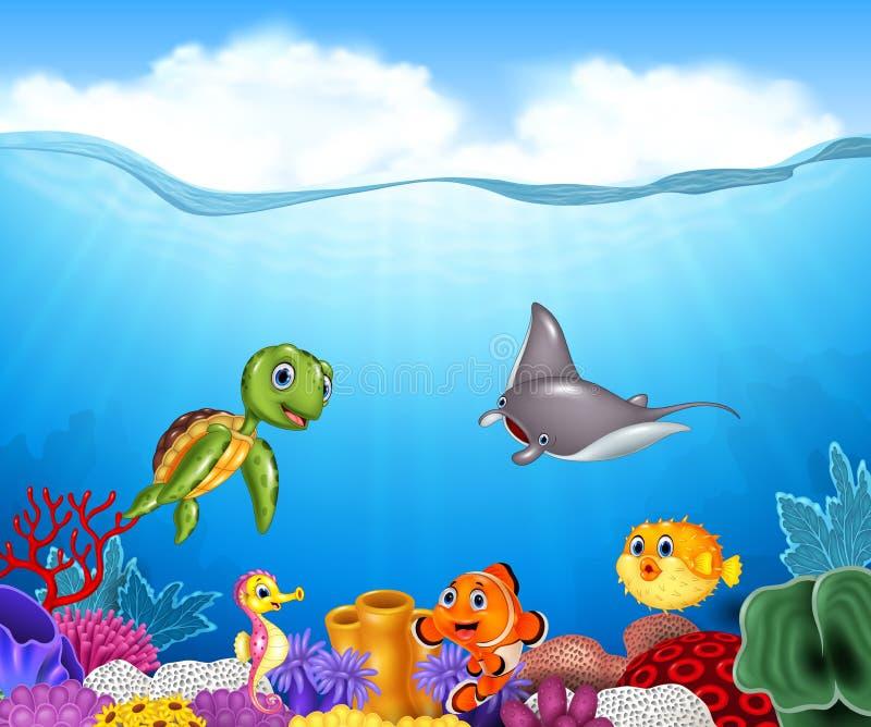 Peixes tropicais dos desenhos animados com o mundo subaquático bonito ilustração royalty free