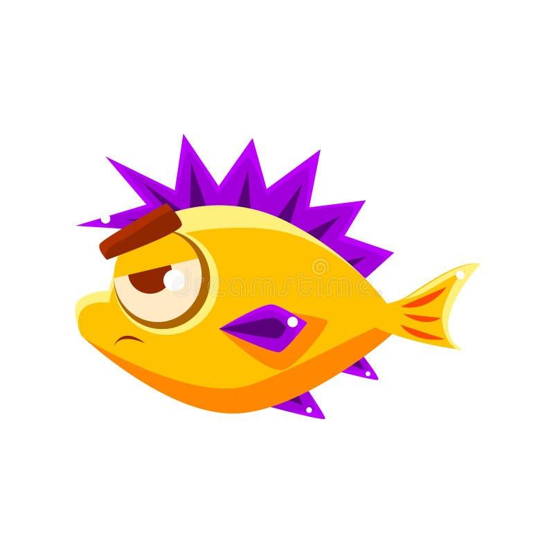 Peixes tropicais fora mijados do aquário fantástico amarelo com personagem de banda desenhada roxo pontudo das aletas ilustração do vetor