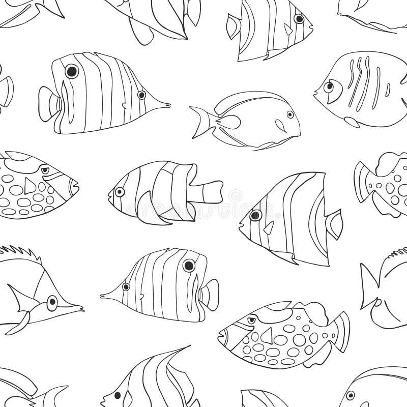 Peixes tropicais pretos no teste padrão sem emenda branco do vetor Butterflyfish nadadores, palhaço Triggerfish, donzela, Anemone ilustração royalty free