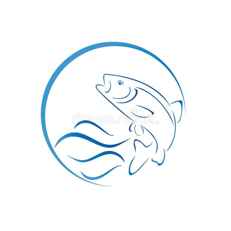 Peixes, truta e ondas, peixes e logotipo da pesca ilustração royalty free