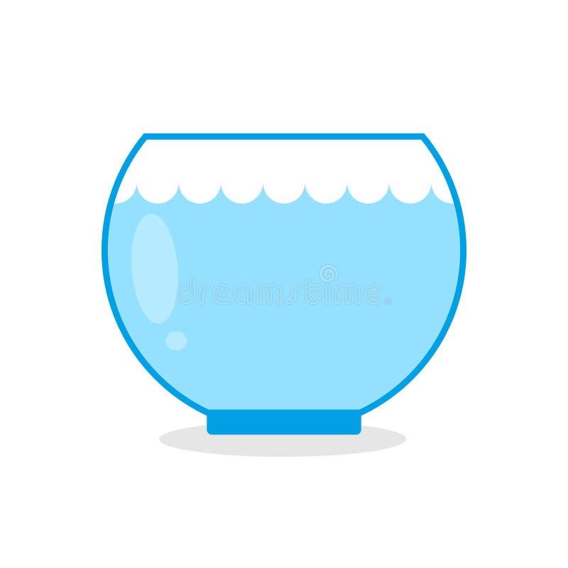 Peixes vazios do aquário Embarcação de vidro para manter animais aquáticos ilustração do vetor
