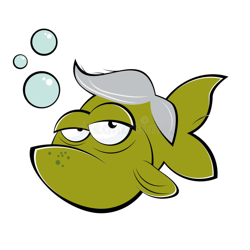 Peixes velhos dos desenhos animados ilustração stock