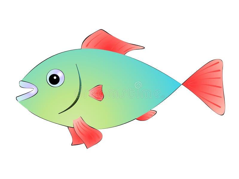 Peixes verdes com as aletas vermelhas no fundo branco ilustração do vetor