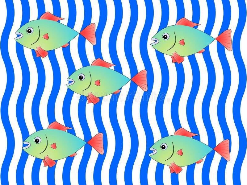 Peixes verdes com as aletas vermelhas no fundo de ondas azuis e brancas ilustração royalty free