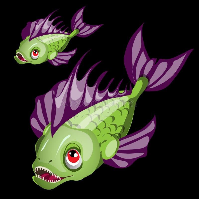 Peixes verdes toothy predatórios com aletas roxas ilustração do vetor