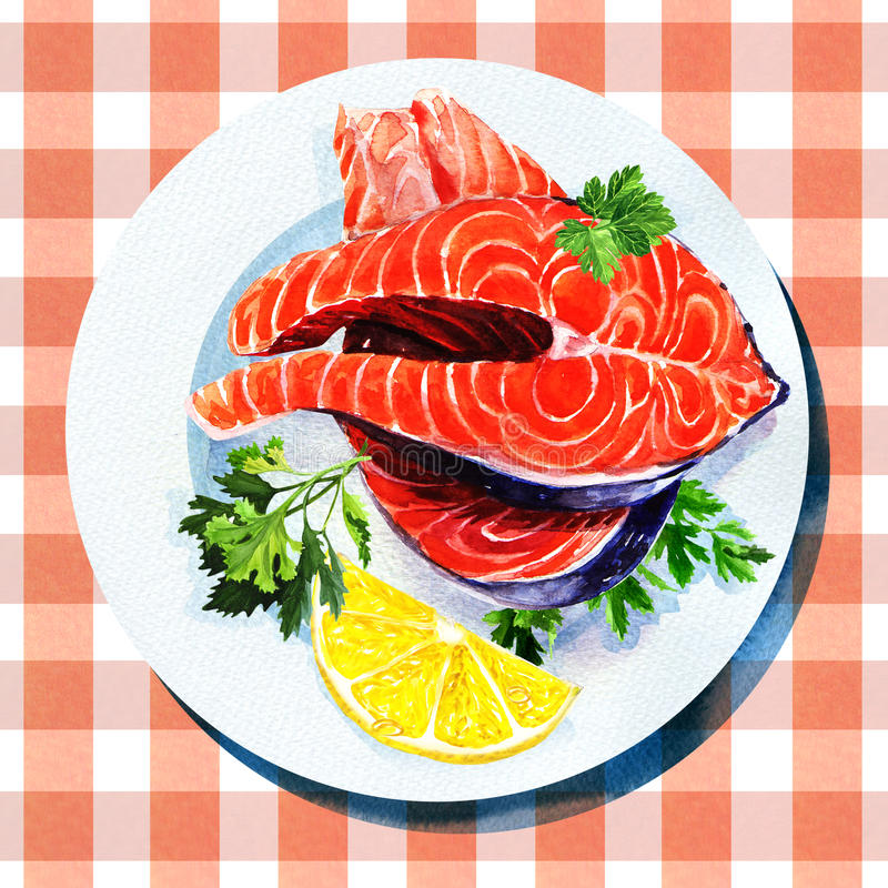 Peixes vermelhos do bife Salmon na placa branca ilustração do vetor