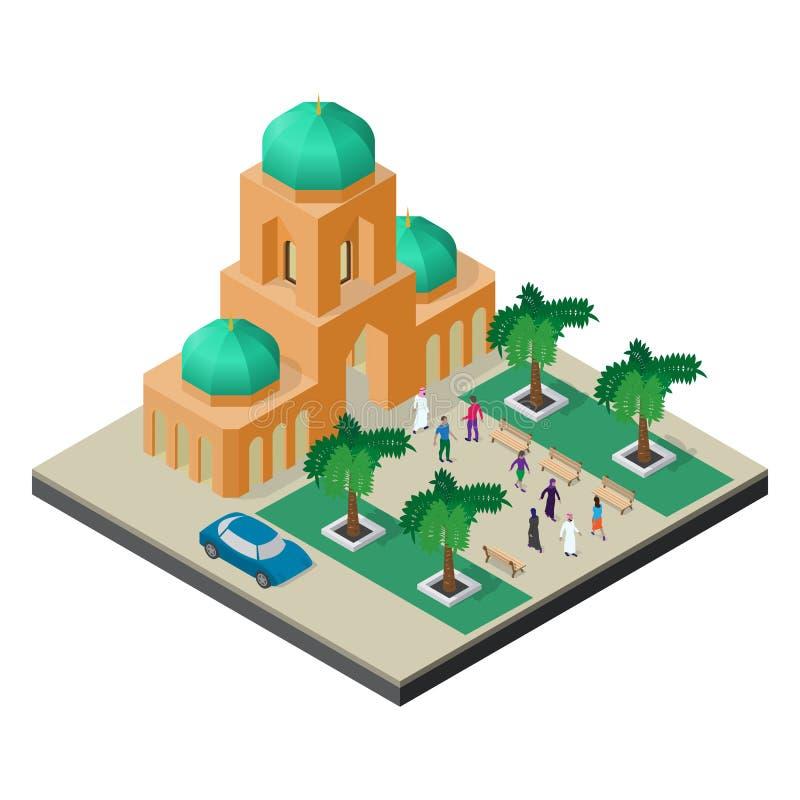 Pejzaż miejski w isometric widoku Świątynia, aleja z drzewami, ławki, samochód i ludzie, royalty ilustracja