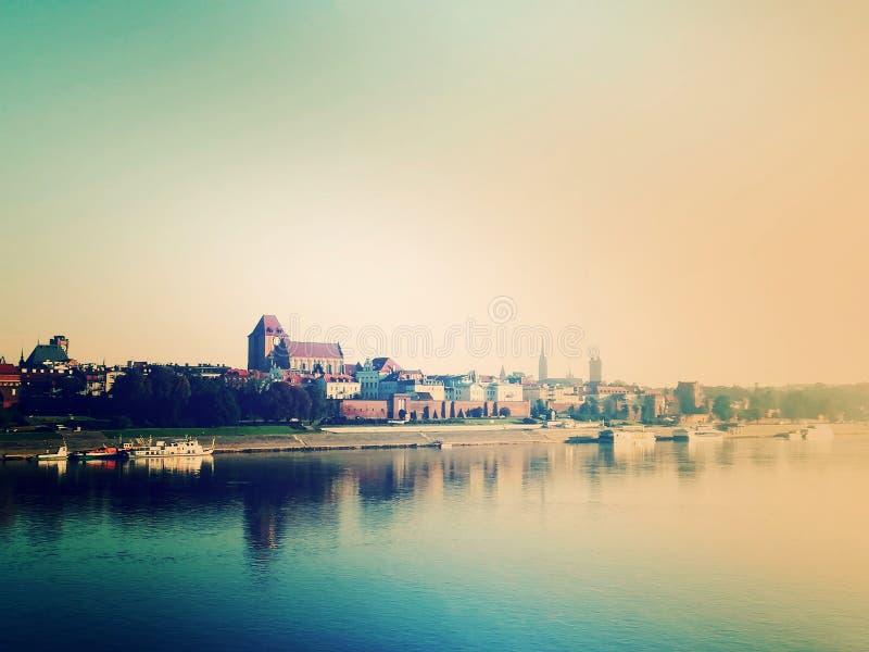 Pejzaż miejski średniowieczny miasto obrazy stock