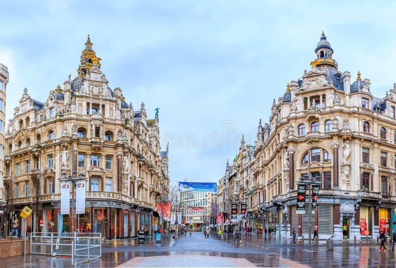 Pejzaż miejski Antwerp Belgia w deszczu zdjęcia stock