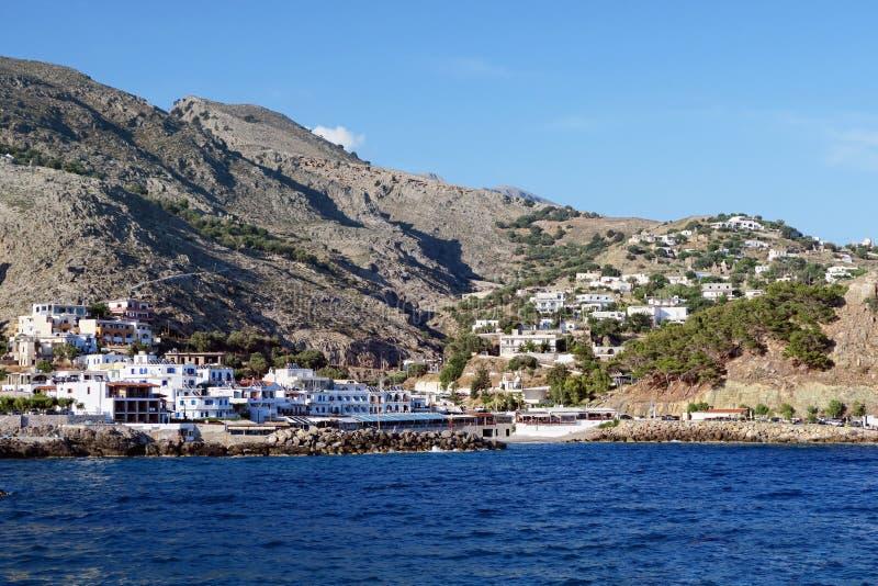 Pejzaż miejski Chora Sfakion Crete Grecja fotografia royalty free
