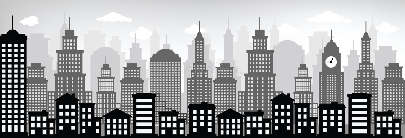 Pejzaż miejski (czerń & biel) ilustracja wektor