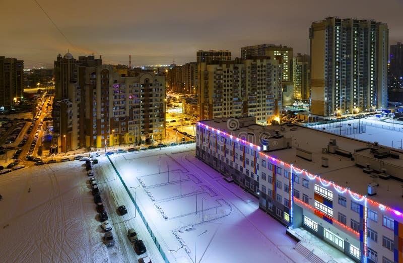 Pejzaż miejski dormitorium teren Świątobliwy Petersburg, Rosja zdjęcia royalty free