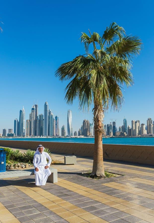 pejzaż miejski Dubai marina panoramiczny sceny zmierzch UAE obrazy royalty free