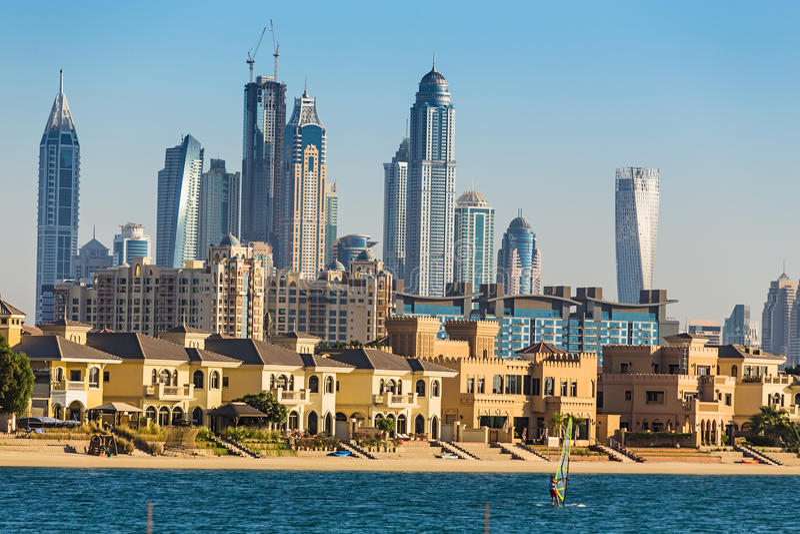 pejzaż miejski Dubai marina panoramiczny sceny zmierzch UAE zdjęcia royalty free