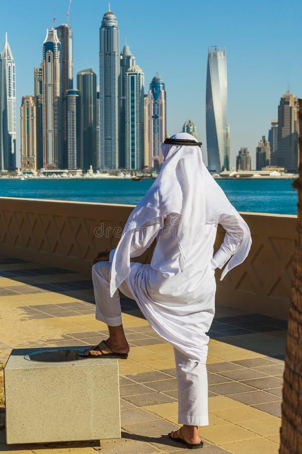 pejzaż miejski Dubai marina panoramiczny sceny zmierzch UAE obraz stock