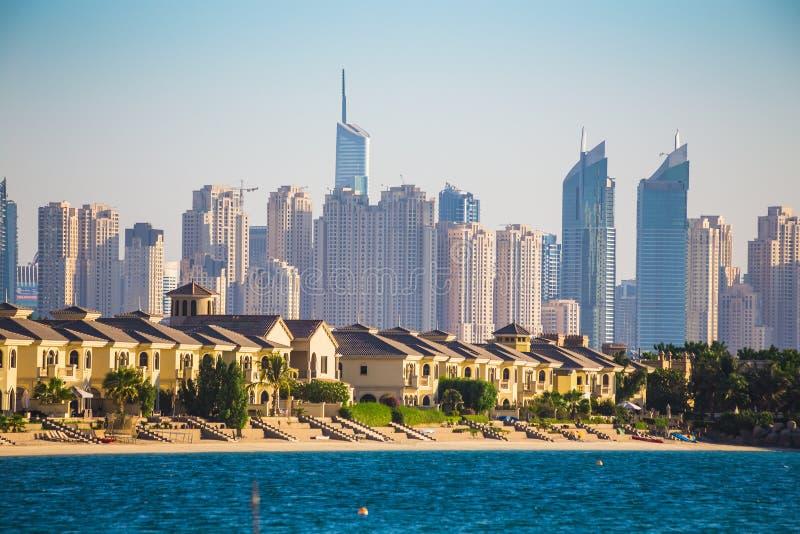 pejzaż miejski Dubai marina panoramiczny sceny zmierzch UAE zdjęcie royalty free