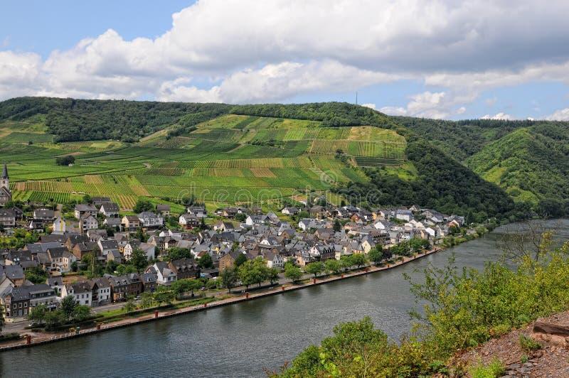 Pejzaż miejski Ellenz-Poltersdorf przy Moselle rzeką Niemcy fotografia royalty free