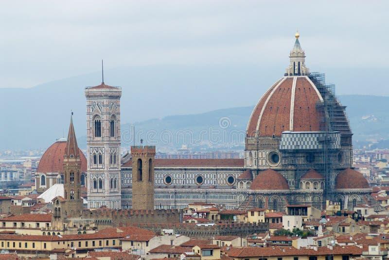 Pejzaż miejski Florencja na chmurnym dniu z bazylik di Santa Maria Del Fiore Florencja, Włochy zdjęcia royalty free