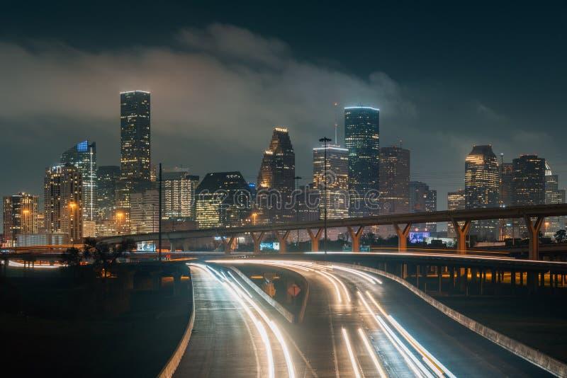 Pejzaż miejski fotografia Houston linia horyzontu przy nocą, w Houston, Teksas fotografia royalty free
