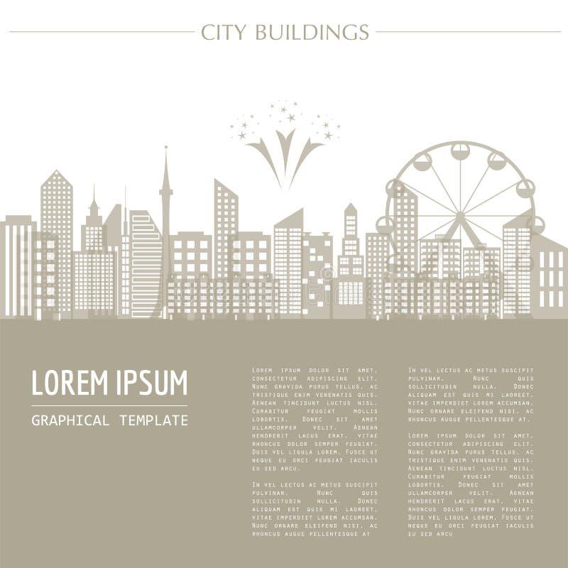 Pejzaż miejski grafiki szablon nowoczesne miasto architektury Wektorowa bolączka ilustracja wektor