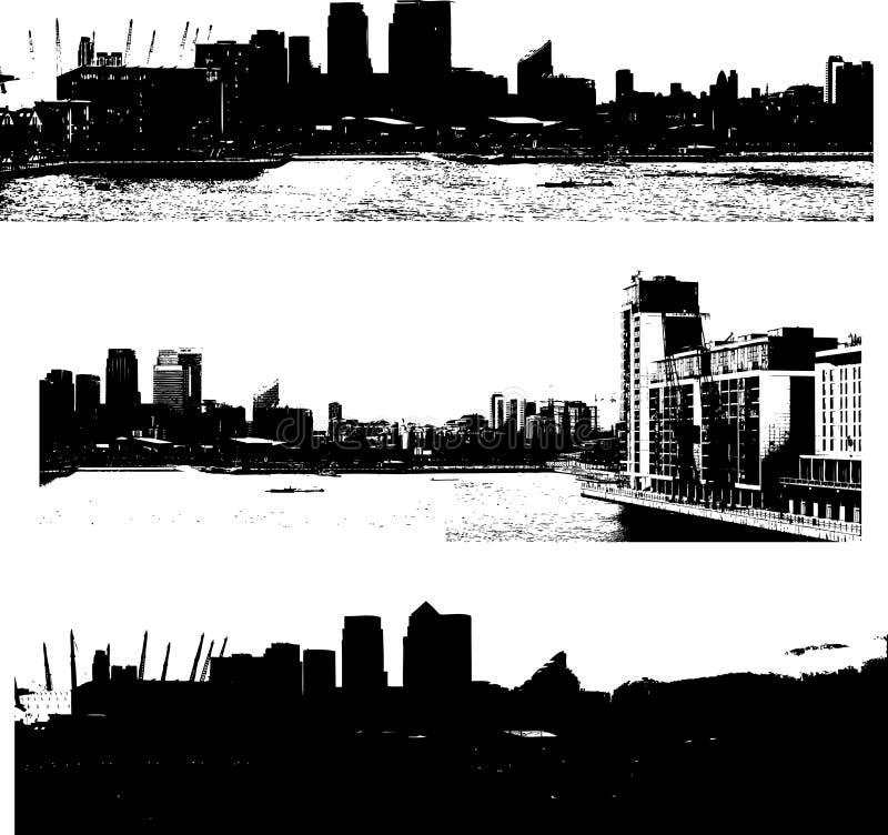 pejzaż miejski grunge London styl ilustracji