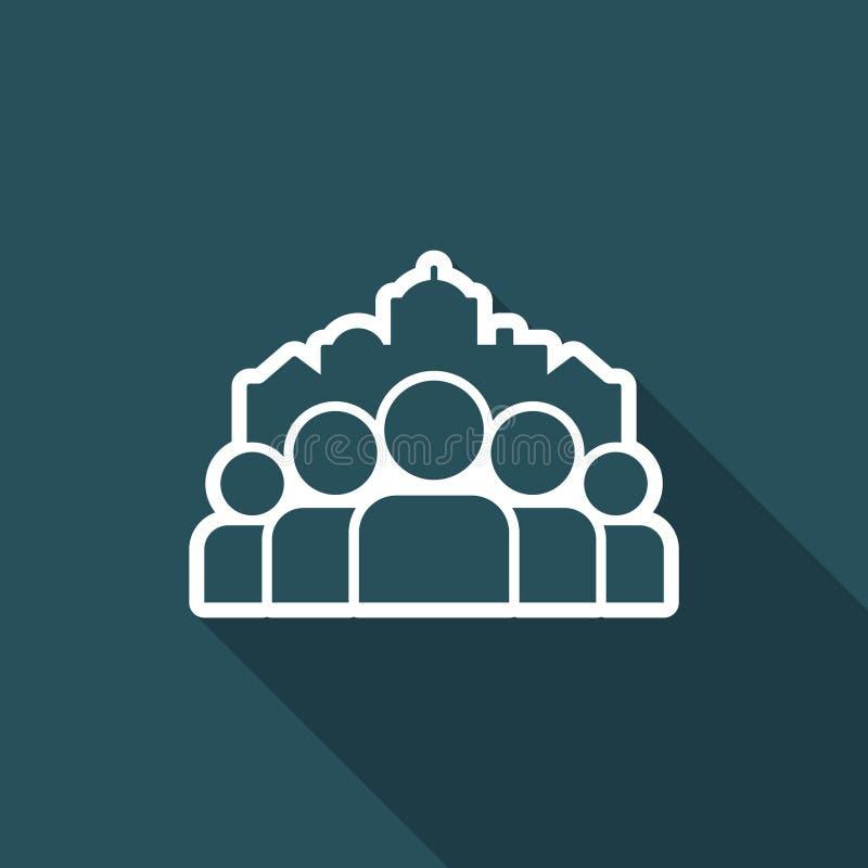 Pejzaż miejski i ludzie społeczności - Wektorowa płaska minimalna ikona royalty ilustracja