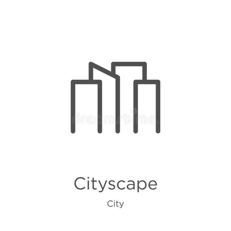 pejzaż miejski ikony wektor od miasto kolekcji Cienka kreskowa pejzażu miejskiego konturu ikony wektoru ilustracja Kontur, cienie ilustracji