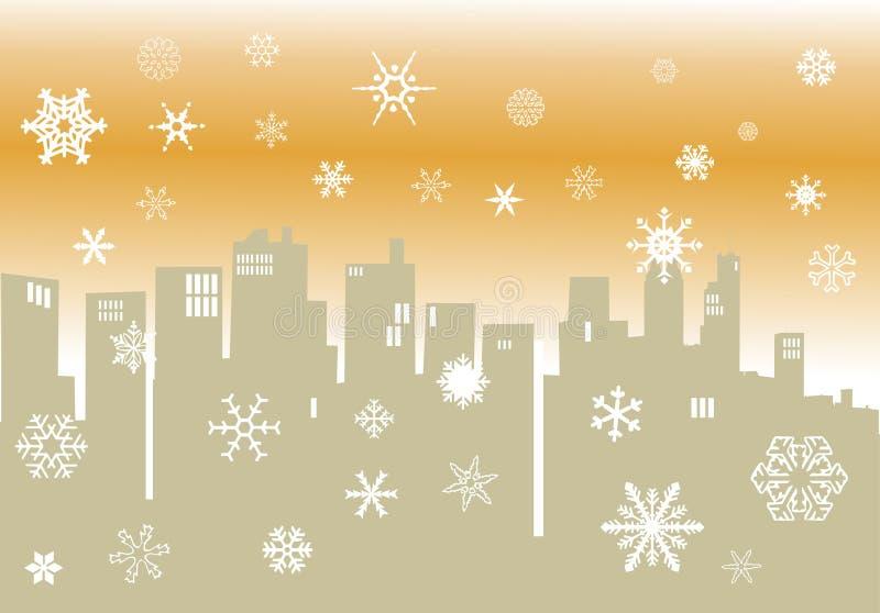 pejzaż miejski ilustracyjna sylwetki zima ilustracja wektor