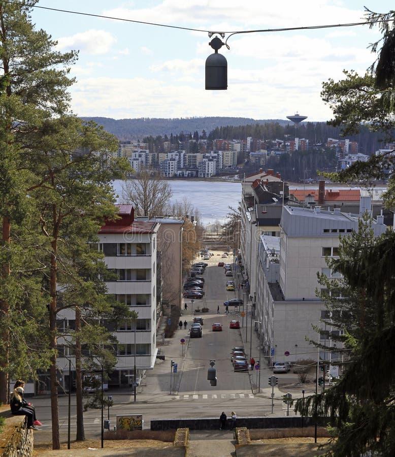 Pejzaż miejski Jyvaskyla, Finlandia z wierzchu Harju wzgórza fotografia royalty free