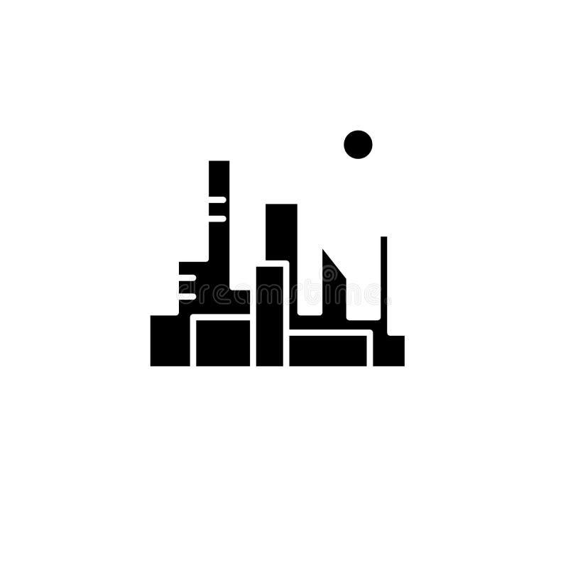 Pejzaż miejski kapitałowa czarna ikona, wektoru znak na odosobnionym tle Pejzaż miejski kapitałowy pojęcie symbol ilustracji