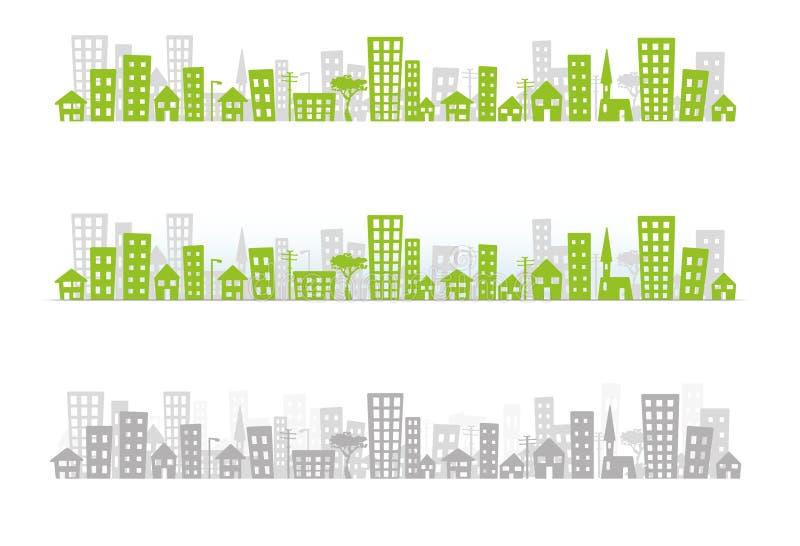 pejzaż miejski linia horyzontu x 3 obrazy stock