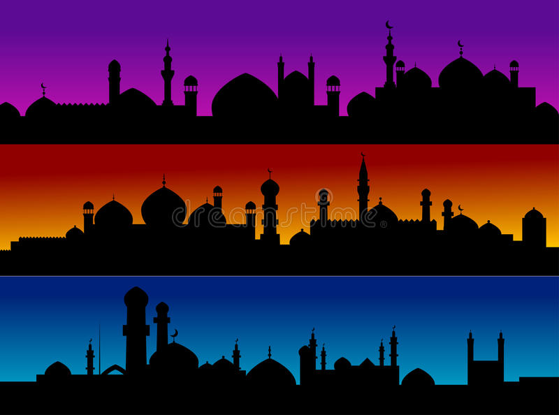 pejzaż miejski meczetowi ilustracji