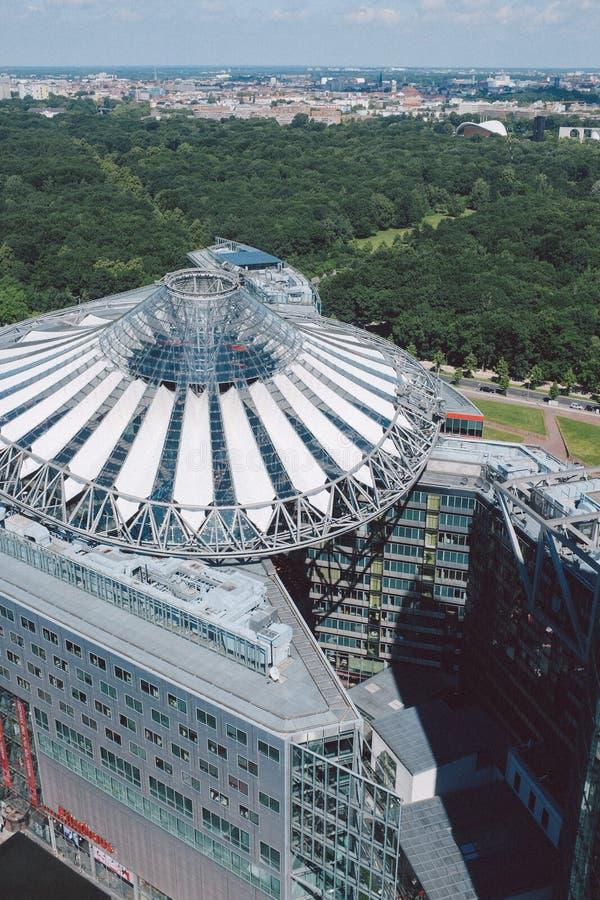 Pejzaż miejski na Potsdam kwadracie w Berlin z góry, Sony ześrodkowywa zdjęcia royalty free