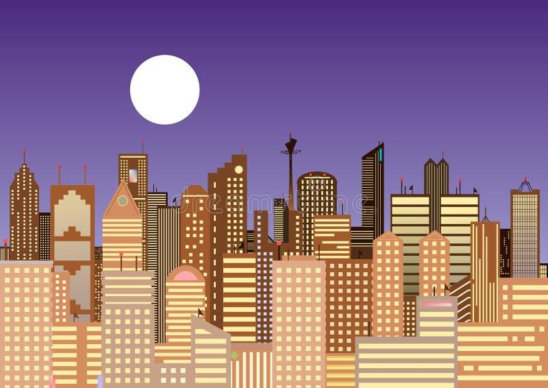 Pejzaż miejski Nowożytny miasto przy nocą royalty ilustracja