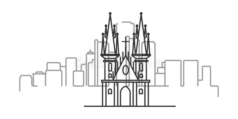 pejzaż miejski Praga konturu ilustracja ilustracja wektor