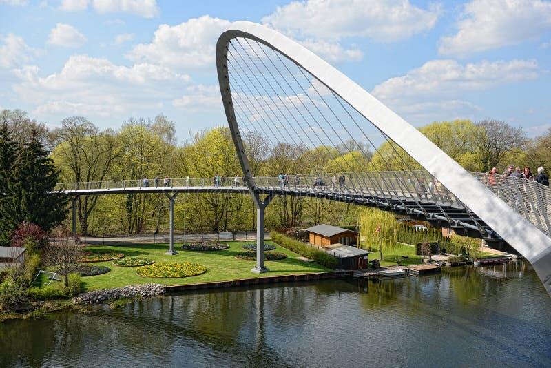 Pejzaż miejski Rathenow z swój winnicy mostem nad Havel ri zdjęcia royalty free