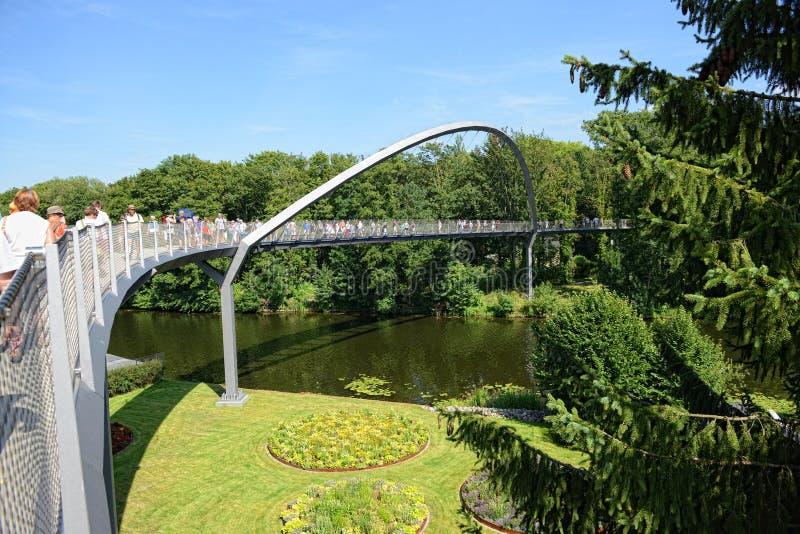 Pejzaż miejski Rathenow z swój winnicy mostem nad Havel ri zdjęcia stock