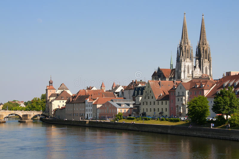 Pejzaż miejski Regensburg zdjęcia stock