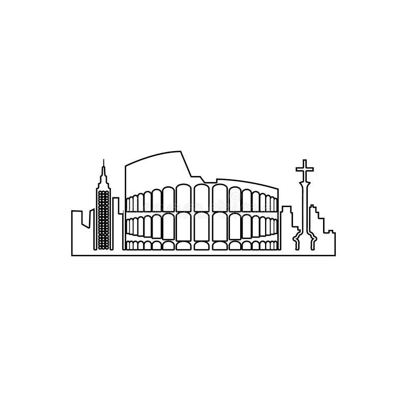 pejzaż miejski Rzym ikona Element pejzaż miejski dla mobilnego pojęcia i sieci apps ikony Kontur, cienka kreskowa ikona dla stron ilustracji