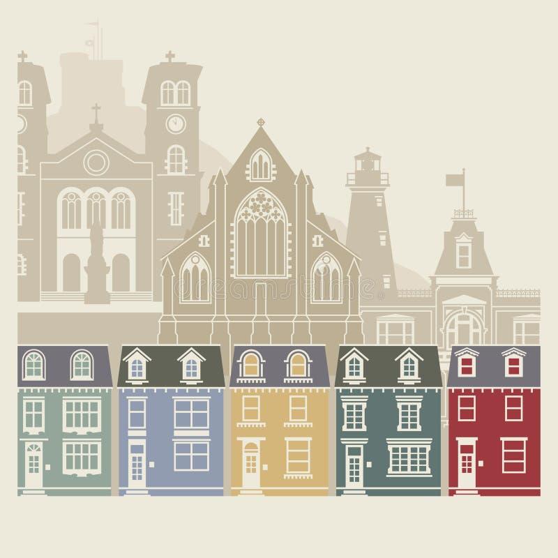 Pejzaż miejski St John ` s, wodołaz i labrador, Kanada royalty ilustracja