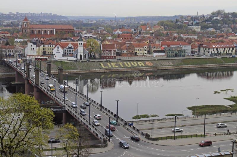 Pejzaż miejski stary miasteczko w Kaunas, Lithuania zdjęcie stock
