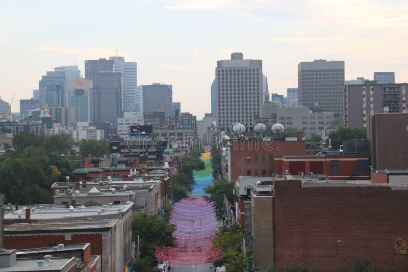 Pejzaż miejski tęczy droga Montreal zdjęcia royalty free