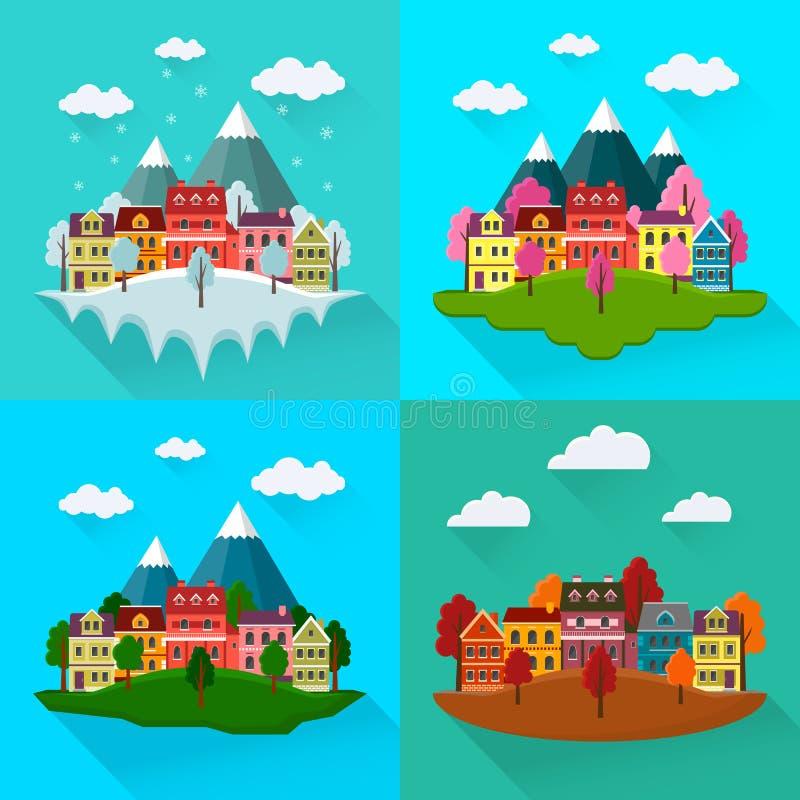 Pejzaż miejski ustawiający: wiosna, jesień, lato, zima ilustracji