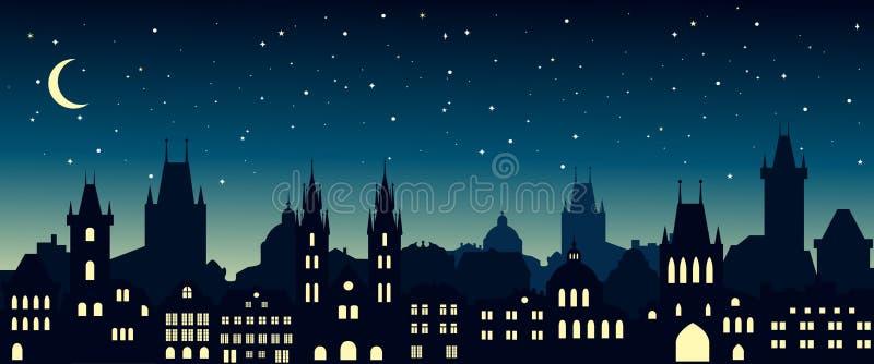 Pejzaż miejski w europejskim mieście przy nocą prague sylwetka ilustracji
