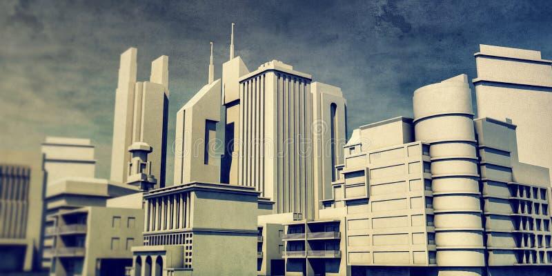 Pejzaż miejski w starym grunge obrazku ilustracja wektor