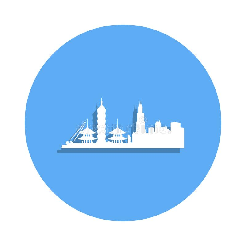pejzaż miejski w Taipei ikonie w odznaka stylu Jeden pejzaż miejski inkasowa ikona może używać dla UI, UX ilustracja wektor