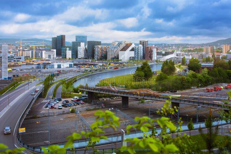 Pejzaż miejski widzieć od above z drapacza chmur widokiem Oslo zdjęcie royalty free